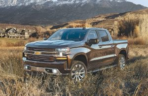 The 2019 Silverado High Country features an exclusive front grille design with two-tone chrome and bronze finish and body-color accents, plus chrome assist steps from wheel to wheel. It also includes the power up/down tailgate as standard equipment.
