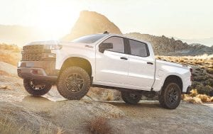 The 2019 Silverado Custom Trailboss adds off-road equipment to the Custom, including a 2-inch suspension lift and the Z71 Off-Road Package with a locking rear differential, skid plates, Rancho shocks, 18-inch wheels and Goodyear Duratrac off-road tires.