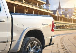 """The 2019 Ram 1500 Kentucky Derby Edition is based on the brand's Limited trim and features distinctive Kentucky Derby """"Run for the Roses"""" fender graphics."""