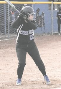 Carman-Ainsworth's Erin Gross awaits the pitch against Kearsley on March 26.