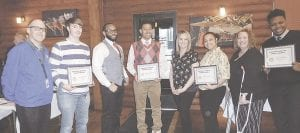 These CAHS students, shown here with their teachers, were recognized as Students of the Month for March and April by the Genesee Valley Rotary.