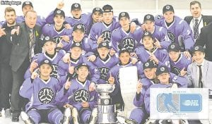 Firebirds' prospects Michael Bianconi and Owen Powers celebrate winning the OHL Gold Cup with their teammates.