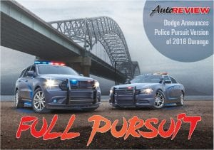 Dodge expands its police vehicle lineup for 2018 with the new Dodge Durango Pursuit V-8 AWD, which joins the Charger Pursuit – the top-selling police sedan in the segment.