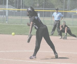 Carman-Ainsworth's Ninti Bullard releases the pitch at Bendle on May 25.