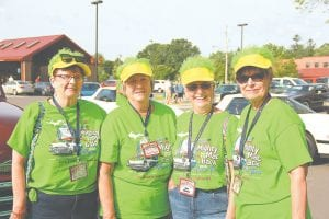From left, Barbara Worden, Gayle Mayer, Mary Ann Voorhies and Erna Hogan donned matching hats in honor of the annual Back to the Bricks