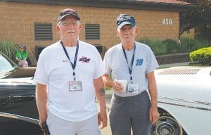 Left: Brothers Ken and Bruce Dunton have been part of Back to the Bricks since its inception, taking part in the annual Promo Tour. Ken, of Caro, brought out his 1956 Chevy 210, while Bruce drove his 1956 Bel Air.