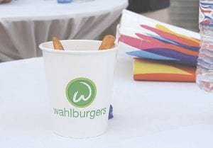 Samples of Wahlburgers and fries were served to VIP guests at the grand announcement event during the mall's weekly Thursday outdoor concerts.