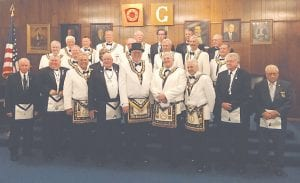 Pictured above: Flushing Masonic Lodge Officers and the Michigan Masonic Grand Lodge Officers. Photo provided