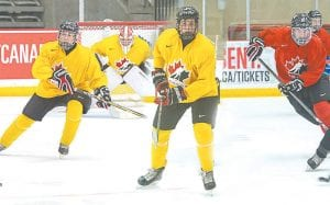 Flint's Michael Bianconi, Owen Power and Evan Vierling. Photo provided