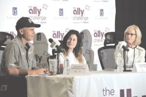 PGA Tour Champions golfer Rocco Mediate, Andrea Brimmer, Vice President of Marketing and Public Relations for the Ally Challenge and Laurie Prochazka, Vice President of Marketing for McLaren Health Care were the special guests at the Ally Challenge media event Monday morning. Photo by Alex Petrie