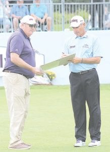 Jeff Powell, a member of Warwick Hills, gets an autograph from Fred Couples. Powell was the first tee announcer during the pro-am portion of the Ally Challenge. Photo by Lisa Paine