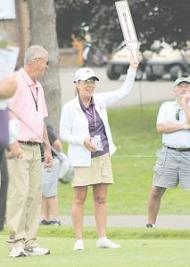 Barb Gibson of Fenton marshalled the first tee. She's a 30-year Buick Open volunteer. Photo by Lisa Paine